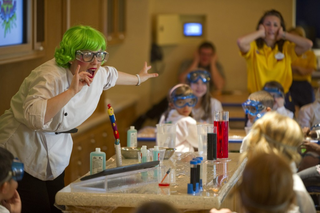 Connecting the Disney's Oceaneer Club and the Disney's Oceaneer Lab on Deck 5 of the Disney Dream are two Workshops. In these specialized areas, kids concoct creations in an interactive science lab, conduct crazy experiments, express their creativity through art projects, stretch their culinary skills and participate in other hands-on activities. (Kent Phillips, photographer)