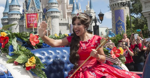 Princess Elena of Avalor, the first Latin-inspired Disney princess, receives a royal welcome on Aug. 11, 2016 during her arrival at Magic Kingdom Park in Lake Buena Vista, Fla. Princess ElenaÕs arrival at Walt Disney World follows the debut of the new Disney Channel animated series, ÒElena of Avalor.Ó The adventurous princess appears daily in ÒThe Royal Welcome of Princess ElenaÓ stage show at Magic Kingdom. (David Roark, photographer)