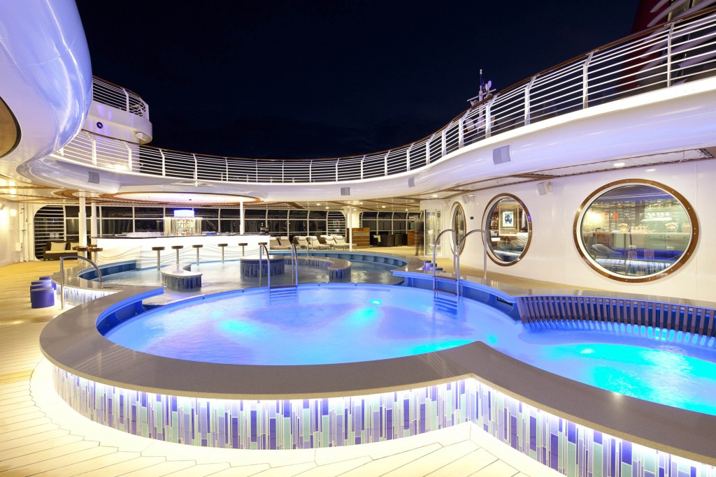 On the Disney Dream, adults can relax at Quiet Cove Pool. In this multi-level pool with varying depths, adults can fully immerse themselves in a tranquil environment to soak up the sun, bask in warm tropical breezes or enjoy a beverage at the poolside bar. (Matt Stroshane, photographer)