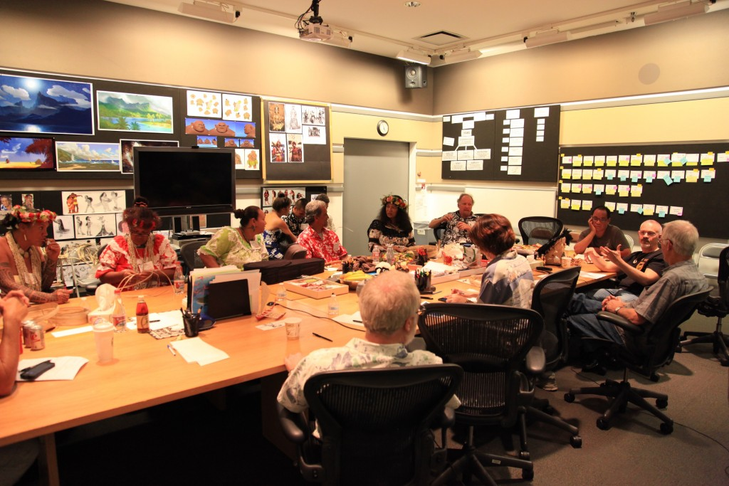 MOANA filmmakers consult with members of the MOANA Oceanic Story Trust.