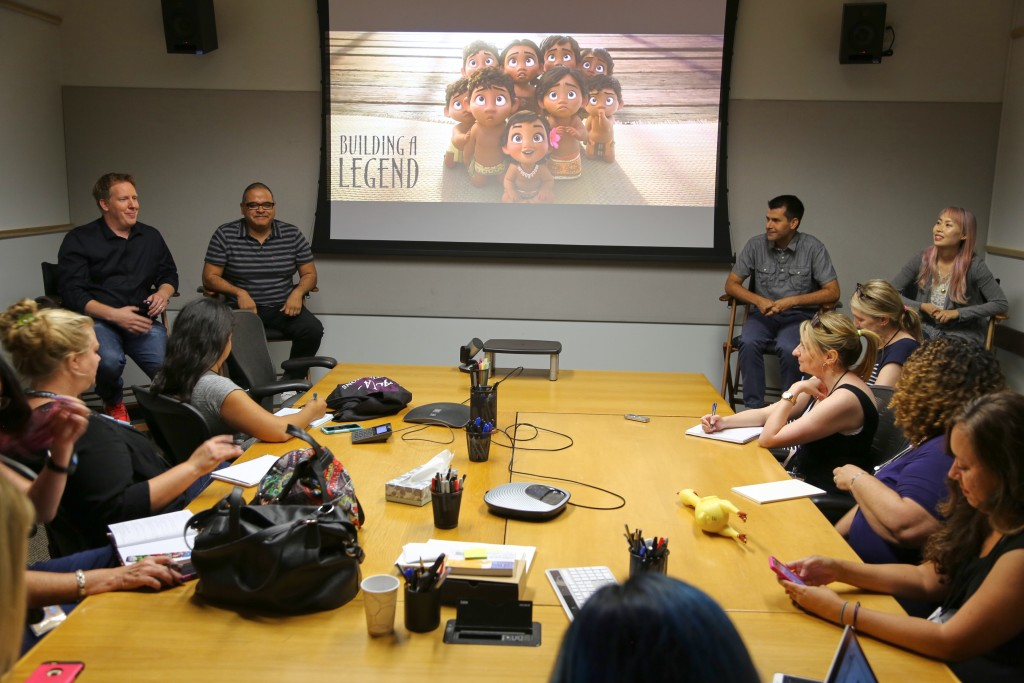 MOANA - (L-R) Jared Bush (Screenwriter), Dave Pimentel (Head of Story), David Derrick (Story Artist) and Sunmee Joh (Story Artist) present at the Moana Long Lead Press Day on July 27, 2016 at Walt Disney Animation Studios - Tujunga Campus in North Hollywood, CA. Photo by Alex Kang. © 2016 Disney. All Rights Reserved.