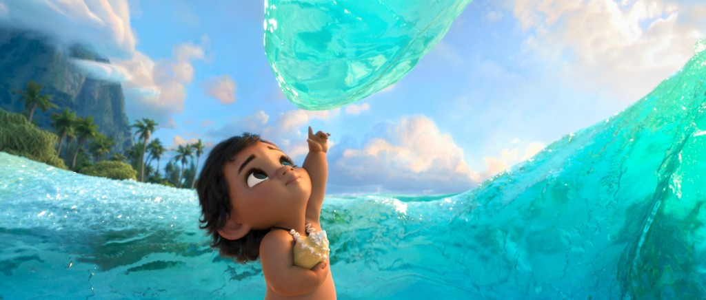 Young Moana interacting with the Ocean.
