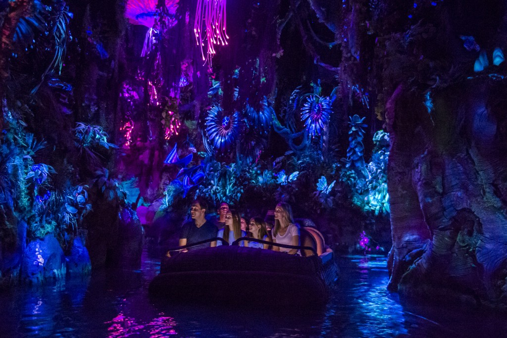 Pandora Ð The World of AVATAR opens May 27, 2017, bringing exciting new experiences to Disney's Animal Kingdom. New attractions include the family-friendly NaÕvi River Journey. The adventure begins as guests sail in reed boats down a mysterious, sacred river hidden within the bioluminescent rainforest. The full beauty of Pandora reveals itself as the boats pass by exotic glowing plants and amazing creatures. The journey culminates in an encounter with a NaÕvi shaman, who has a deep connection to the life force of Pandora and sends positive energy out into the forest through her music. Disney's Animal Kingdom is one of four theme parks at Walt Disney World Resort in Lake Buena Vista, Fla. (Steven Diaz, photographer)