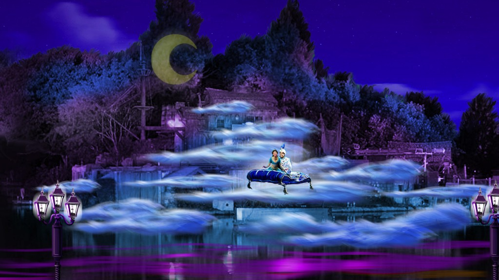 "'FANTASMIC!' RETURNS TO DISNEYLAND PARK –  ""Fantasmic!,"" Disney's longest-running and most popular nighttime spectacular, returns to the Rivers of America in Disneyland Park in July with enhanced effects, innovative state-of-the-art projection technology, and new storytelling elements. Guests will journey into Mickey Mouse's imagination as they are immersed in this magical classic, a fan favorite for 25 years. The return of ""Fantasmic!"" coincides with the reopening of The Disneyland Railroad, Pirates' Lair on Tom Sawyer Island, and the water crafts – Mark Twain Riverboat, Sailing Ship Columbia, Davy Crockett Explorer Canoes – that sail around the Rivers of America in Frontierland. (Artist Rendering/Disneyland Resort)"