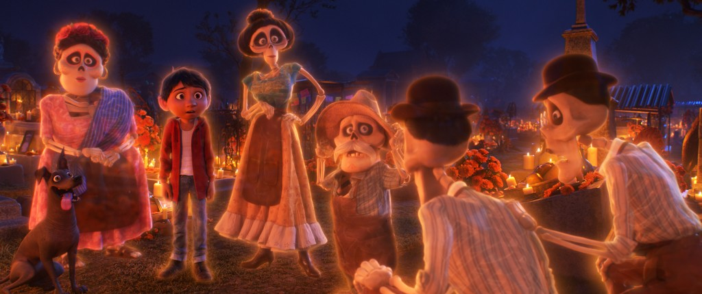 "FAMILY REUNION – In Disney•Pixar's ""Coco,"" aspiring musician Miguel (voice of Anthony Gonzalez) makes an impulsive choice that sets off a series of events that ultimately lands him in the Land of the Dead where he's able to interact with his late family members, including Tía Rosita (voice of Selene Luna), Tía Victoria, Papá Julio (voice of Alfonso Arau), and Tío Oscar and Tío Felipe (both voiced by Herbert Siguenza). Disney•Pixar's ""Coco"" opens in U.S. theaters on Nov. 22, 2017. ©2017 Disney•Pixar. All Rights Reserved."