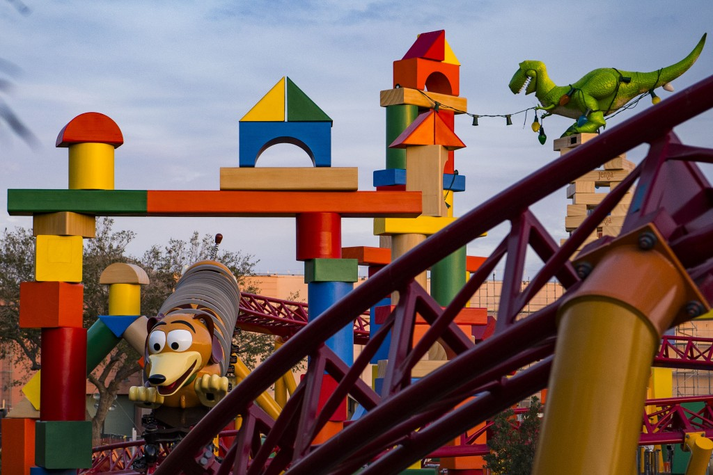 TOY STORY LAND AT WALT DISNEY WORLD RESORT (LAKE BUENA VISTA, Fla.) ÑToy Story Land at Walt Disney World Resort in Florida opens June 30, 2018. Located at DisneyÕs Hollywood Studios, the new 11-acre Land will make guests feel like they have shrunk to the size of a toy in the setting of AndyÕs backyard. Guests will whoosh along on a family-friendly roller coaster, Slinky Dog Dash (pictured under development), take a spin aboard Alien Swirling Saucers and score high on the midway at Toy Story Mania! (Matt Stroshane, photographer)