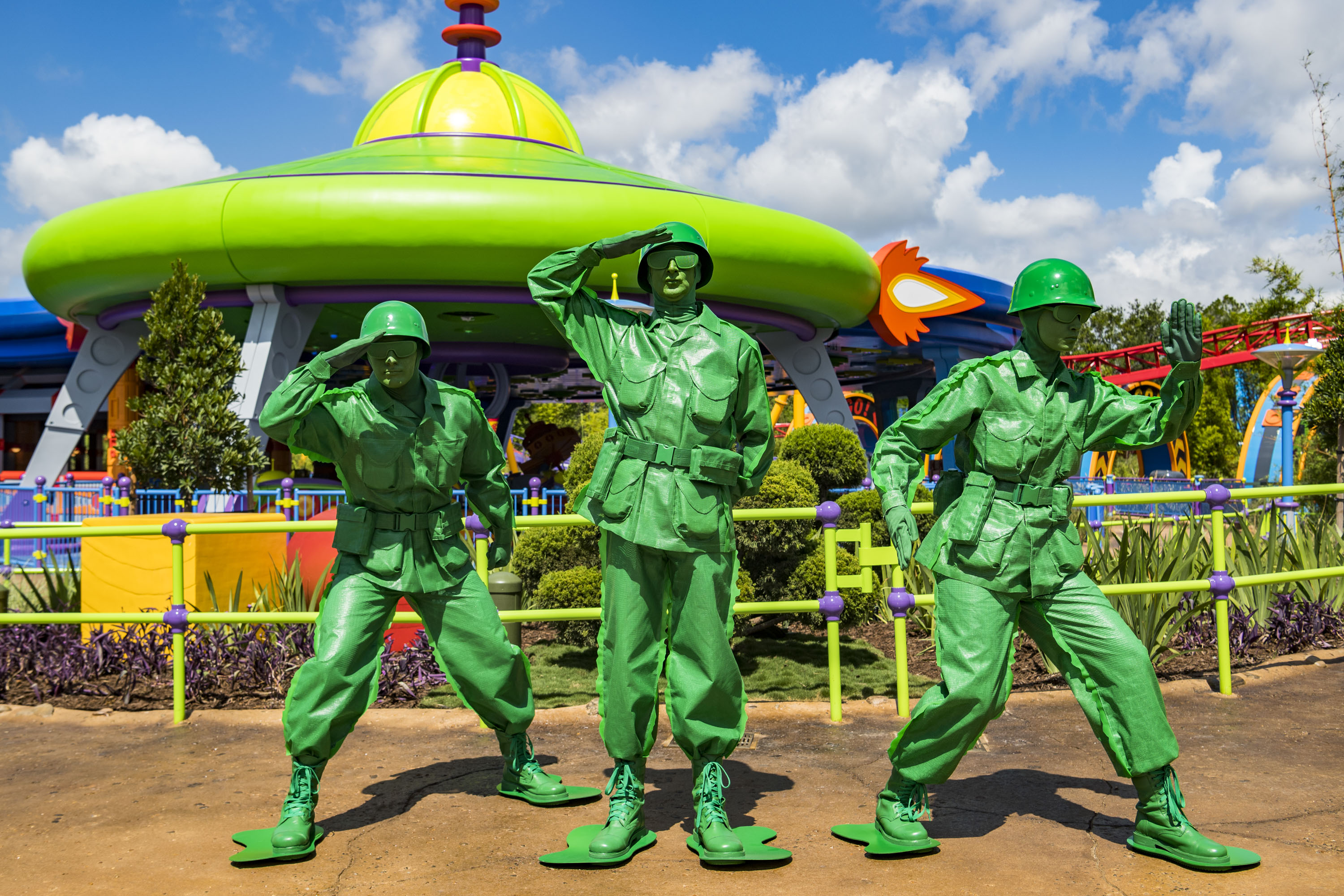 Green Army Men await guests who visit Toy Story Land at DisneyÕs Hollywood Studios. They march through the land several times a day and stop to play ÒSarge SaysÓ with guests, plus other games. The 11-acre land transports Walt Disney World guests into the adventurous outdoors of AndyÕs backyard, where they will feel like they are the size of a toy. (Matt Stroshane, photographer)