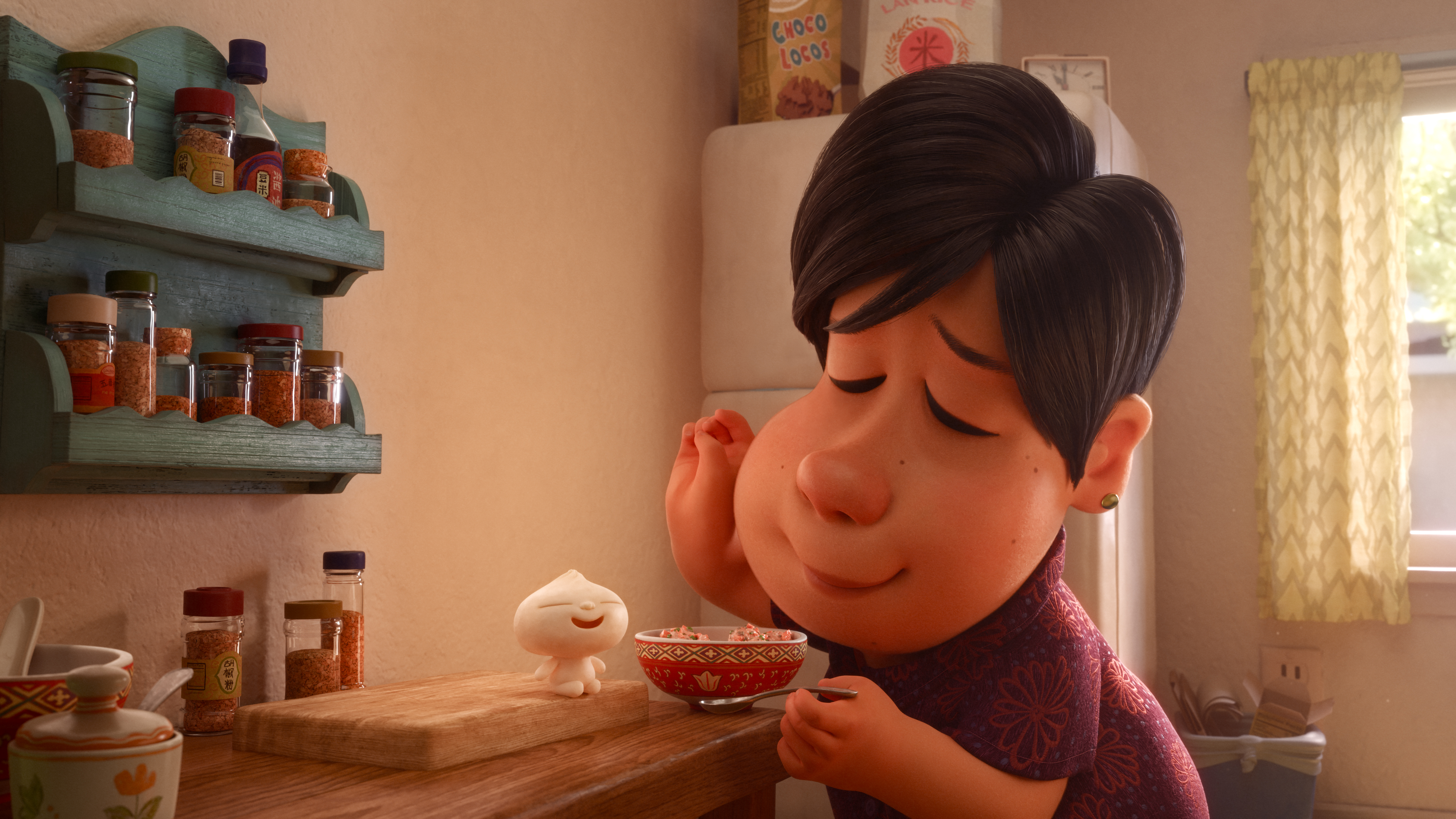 "LITTLE BITE -- In Disney•Pixar's new short ""Bao,"" an aging Chinese mom suffering from empty-nest syndrome gets another chance at motherhood when one of her dumplings springs to life as a lively dumpling boy. Her mothering instincts kick in immediately as she lovingly feeds her giggly new bundle of joy. Directed by Domee Shi, Bao"" opens in theaters on June 15, 2018, in front of ""Incredibles 2."" ©2018 Disney•Pixar. All Rights Reserved."
