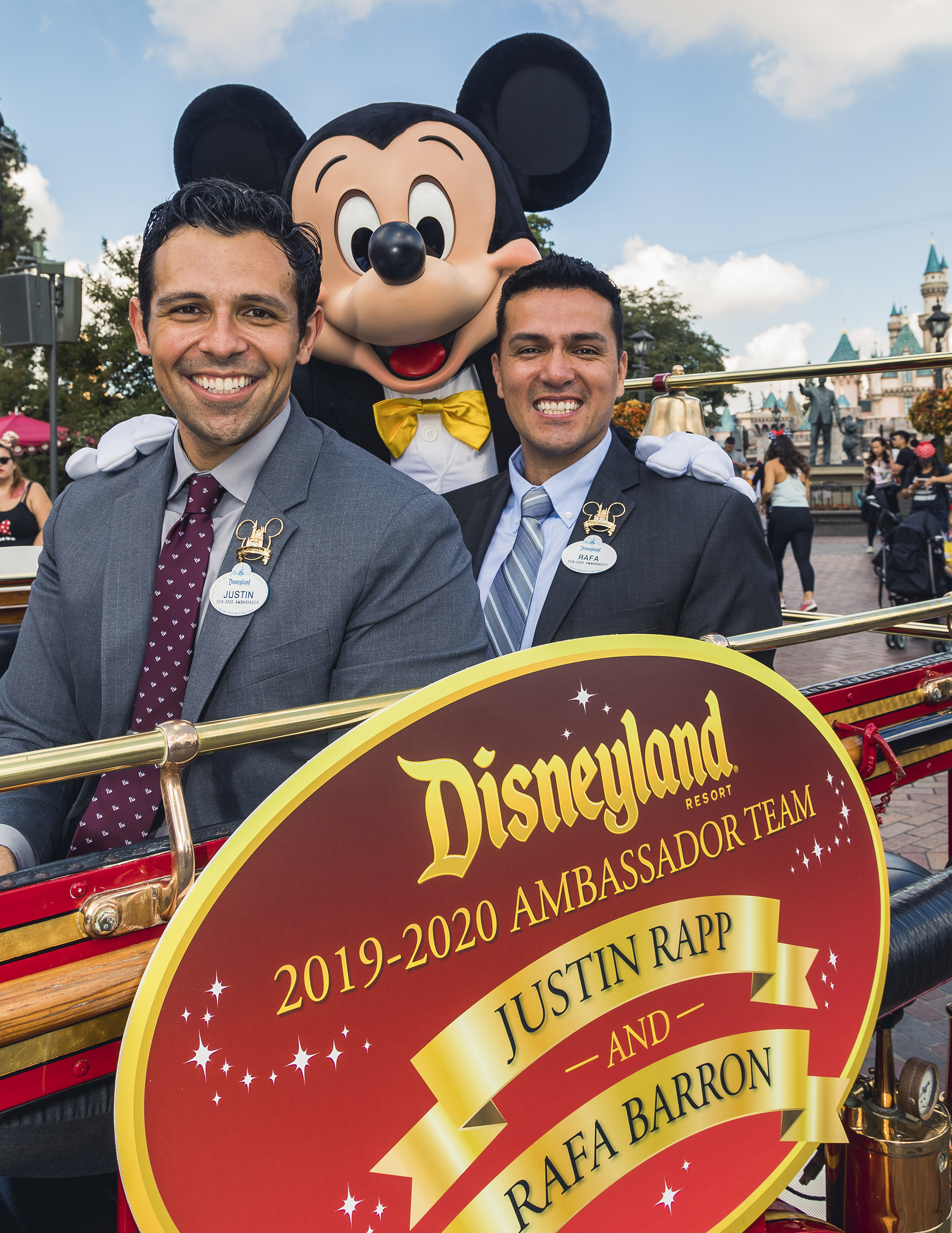 In a tradition dating back to 1965, Disneyland Resort President Josh D'Amaro announced that cast members Justin Rapp and Rafa Barron will represent the Disneyland Resort and its 30,000 cast members as the 2019-2020 Disney Ambassadors. Justin and Rafa celebrated in a cavalcade down Main Street, U.S.A., on October 4, 2018. (Disneyland Resort)