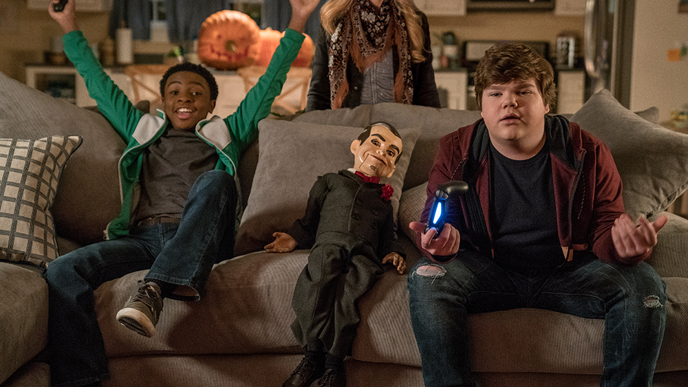 (l to r) Caleel Harris, Madison Iseman, Slappy and Jeremy Ray Taylor in Columbia Pictures' GOOSEBUMPS 2: HAUNTED HALLOWEEN.