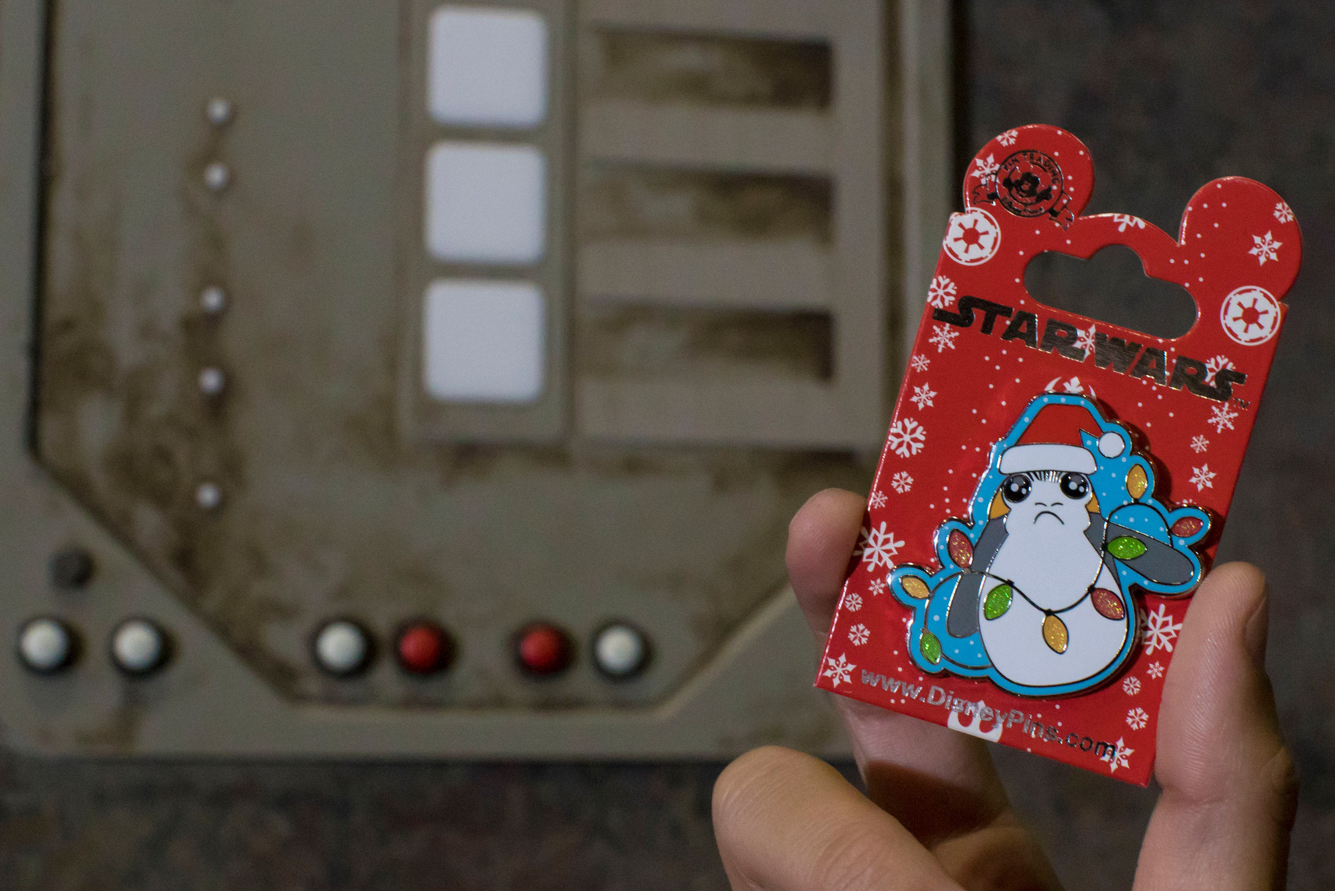Disney guests will find an assortment of Star Wars holiday items throughout Disneyland Resort in California and Walt Disney World Resort in Florida during the holidays season, like this Star Wars Porg Holiday Pin. Other Star Wars holiday items include a Star Wars: GalaxyÕs Edge print, a Sandcrawler playset, Star Wars mega figurine set and more. (Joshua Sudock/Disneyland Resort)