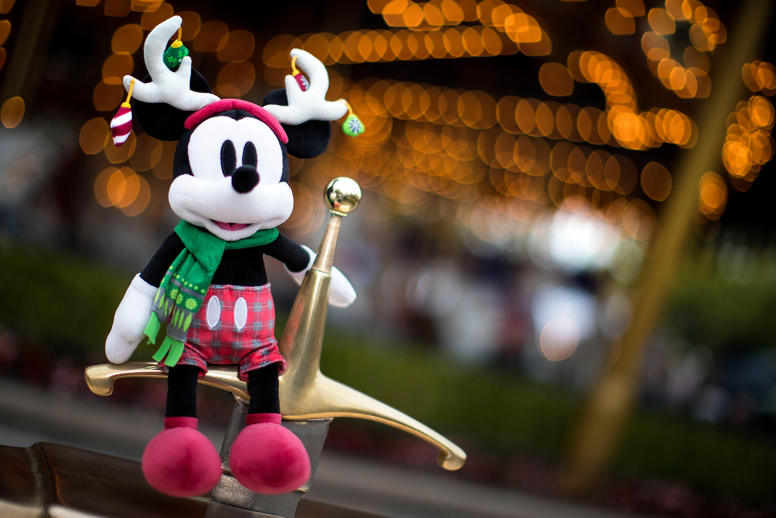 This stylish Mickey Mouse Holidays Plush is one of an assortment of Disney toys available for younger guests throughout Disneyland Resort in California and Walt Disney World Resort in Florida during the holiday season. Other items for young guests include a Disneyland Resort castle playset, a variety of figurine sets and more. (Joshua Sudock/Disneyland Resort)