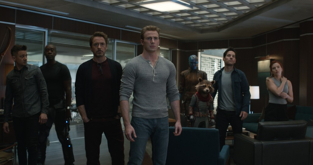 Marvel Studios' AVENGERS: ENDGAME..L to R: Hawkeye/Clint Barton (Jeremy Renner), War Machine/James Rhodey (Don Cheadle), Iron Man/Tony Stark (Robert Downey Jr.), Captain America/Steve Rogers (Chris Evans), Nebula (Karen Gillan), Rocket (voiced by Bradley Cooper), Ant-Man/Scott Lang (Paul Rudd) and Black Widow/Natasha Romanoff (Scarlett Johansson)..Photo: Film Frame..©Marvel Studios 2019