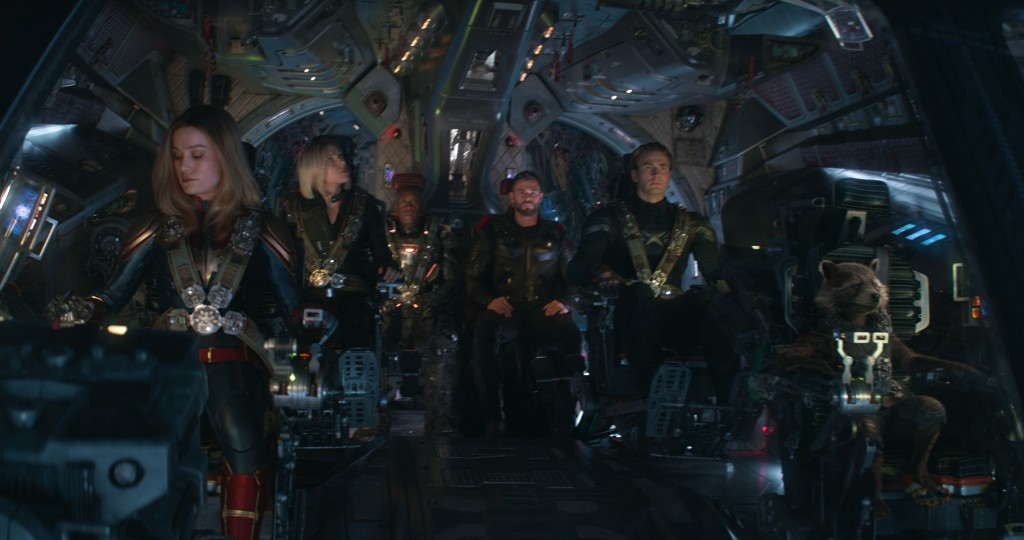 Marvel Studios' AVENGERS: ENDGAME..L to R: Captain Marvel/Carol Danvers (Brie Larson), Black Widow/Natasha Romanoff (Scarlett Johansson), War Machine/James Rhodey (Don Cheadle), Thor (Chris Hemsworth), Captain America/Steve Rogers (Chris Evans) and Rocket (voiced by Bradley Cooper)..Photo: Film Frame..©Marvel Studios 2019